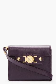 VERSACE Purple Leather Medallion Hardware Small Crossbody Bag