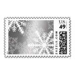 Silver White Snowflakes Postage Stamp