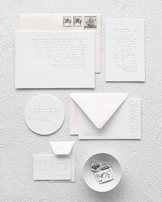 White Letterpess Wedding Invitations #white #letterpress #wedding #invitations http://www.marthastewartweddings.com