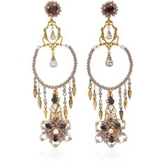 Erickson Beamon Wild Flower Chandelier Crystal Earrings (5.463.250 IDR) ❤ liked on Polyvore featuring jewelry, earrings, gold, chandelier earrings, swarovski crystal earrings, earrings fine jewelry, handcrafted jewelry and crystal jewelry