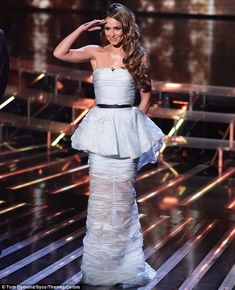 Stunning: Cheryl Fernandez-Versini wowed when she stepped out in an ice-blue Ermanno Scervino dress on Sunday night's episode of X factor