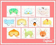 Carnival of the Animals Printable Mask Set by Crafterina on Etsy, $10.00  Set includes 20 Printable Masks!  www.Crafterina.com