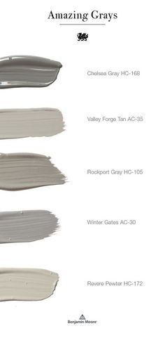 Benjamin Moore Grays. Gray Benjamin Moore Paint Colors. Best Gray Sellers Benjamin Moore Chelsea Gray HC-168. Benjamin Moore Valley Forge Tan AC-35. Benjamin Moore Rockport HC-105. Benjamin Moore Winter Gates AC-30. Benjamin Moore Revere Pewter HC-172 #BenjaminMooreChelseaGrayHC168 #BenjaminMooreValleyForgeTanAC35 #BenjaminMooreRockportHC105 #BenjaminMooreWinterGatesAC30 #BenjaminMooreReverePewterHC172 #BenjaminMoore #BenjaminMooreGrays #GrayBenjaminMoore #PaintColors #Greypaintcolors…
