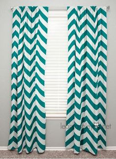 Curtain Panel  Teal White Large Chevron by leahashleyokc on Etsy, $45.00