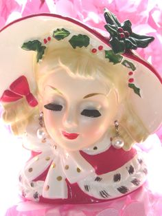 """Christmas Lady"" Head Vase ~ ""InArco"" 6 1/2"""