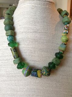 African Trade Bead Necklace one of a kind by GreekDesignsbyElena, $290.00 African-trade-beads