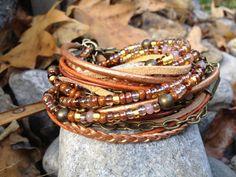 Boho+Wrap+Bracelet+Multi+Media+Autumn+Sun+by+EllieRooDesigns,+$95.00
