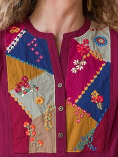 Caravan tunic ladies clothing blouses tunics beautiful designs by april cornell Embroidery On Kurtis, Hand Embroidery Dress, Kurti Embroidery Design, Embroidery Suits, Embroidered Clothes, Hand Embroidery Designs, Embroidered Flowers, Embroidered Blouse, Neck Designs For Suits