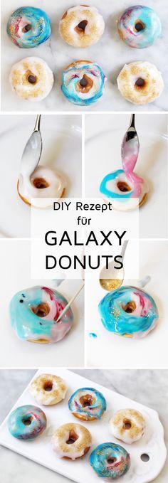 Galaxy Donuts backen und verzieren - einfaches DIY Rezept. Meine Galaxy Donuts sind garantiert der Hit auf jeder Party, probiert es aus!
