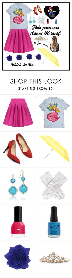 """This Princess Saves Herself!"" by chick-and-co ❤ liked on Polyvore featuring Ollio, Oscar de la Renta, Tacori, Black, CND, BillyTheTree, peach and princess"