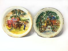 Vintage Metal Toy Dishes County Farm Scene & by UpstairsAttic