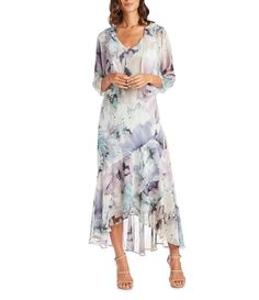 R & M Richards Watercolor Printed Chiffon 2-Piece Jacket Dress #Dillards Lace Tea Length Dress, Tea Length Dresses, Evening Dresses For Weddings, Daytime Dresses, Print Chiffon, Chiffon Dress, Wedding Attire, Chic Wedding, Mob Dresses