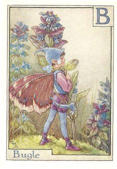 Printed it is by the artist/author/illustrator Cicely Mary Barker. The Bugle Flower Fairy was was one of Cicely Mary Barker's Alphabet Flower Fairies. Cicely Mary Barker, Fairy Pictures, Ouvrages D'art, Vintage Fairies, Beautiful Fairies, Flower Fairies, Fantasy Illustration, Fairy Art, Illustrations