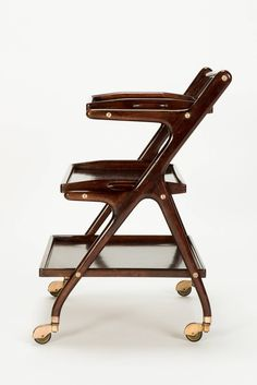 Italian Mahogany Serving Trolley by Cesare Lacca, 1950s   From a unique collection of antique and modern bar carts at https://www.1stdibs.com/furniture/tables/bar-carts/