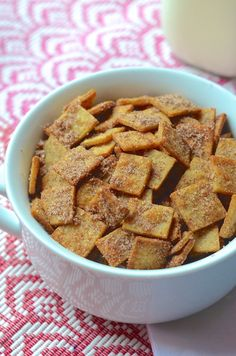 A recipe for crunchy homemade breakfast cereal similar to Cinnamon Toast Crunch made with tortillas cinnamon and sugar. Brunch Recipes, Breakfast Recipes, Snack Recipes, Snacks, Paleo Breakfast, Frugal Recipes, Breakfast Club, Dip Recipes, Breakfast Ideas