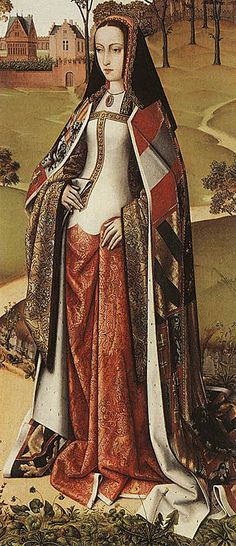 "Detail of the Wings of an Altarpiece, by Master of the Joseph Legend, c. 1505. Oak, , Musées Royaux des Beaux-Arts, Brussels. ""... Joan of Castile, also known as Joan the Mad, wears, above her brocade dress, a wide royal mantle on which the Burgundian, Austrian and Spanish coats of arms are recognizable."""