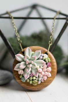 Handmade succulent and flower jewelry, flower necklace