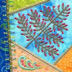 Patchwork designs consisting of four embellished applique squares.