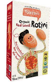 TOLERANT Pasta line - red lentil pastas and black bean pastas.  Pastas that are very high in protein