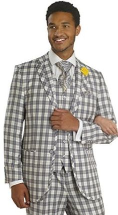 EJ Samuel Charcoal Grey Bold Plaid 3 Piece Fashion Mens Suit M2655 at Amazon Men's Clothing store: