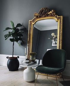black gold living room ideas black walls giant gilded mirror black gold and crea Decor, House Design, Interior Inspiration, Decor Interior Design, Interior, Gold Interior, Dream Decor, House Interior, Room Decor