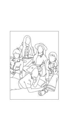 아이폰 배경화면 : 네이버 블로그 Outline Art, Outline Drawings, Pencil Art Drawings, Art Sketches, Kpop Drawings, Art Drawings For Kids, Manga Drawing Tutorials, Sketch Painting, Minimalist Art