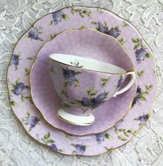 Tableware - Cup, Saucer, and Breakfast Plate Vintage Tableware, Vintage Dishes, Vintage Tea, Vintage China, Tea Pot Set, Tea Sets, Teapots And Cups, Teacups, Purple Tea Cups