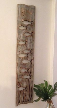 Grey Wood Art Fish School Sign Wall Decor Beach Lake House Cabin Cottage by CastawaysHall - Ready to Ship