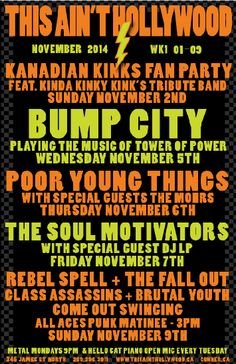 This week at This Ain't Hollywood Nov Nov 9 2014 Tower Of Power, Funk Bands, Special Guest, Kinky, Rebel, Hollywood, Motivation, Music, Musica