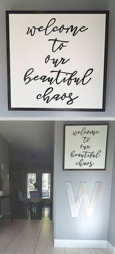 This wooden sign makes a perfect entryway for anyone with young and wild kids! Welcome to our beautiful chaos wood sign, home decor, rustic wall decor, farmhouse decor, living room sign #ad