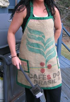 full length apron made from recycled burlap coffee sack