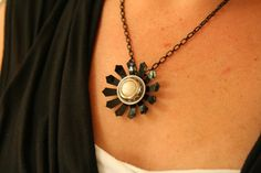 Black Flower Pendant Necklace  made metal flower and a by AngleAh, $18.00