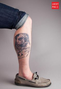 Leg pug tattoo submitted by Brian Marchand - www.luckypug.com