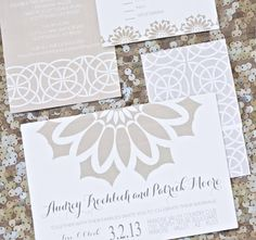 Chic Wedding Invitations - GARDEN GALA - Nude and White Luxury Wedding Invitations via Etsy