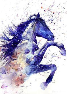 Watercolor Horse, Watercolor Animals, Watercolor Paintings, Tattoo Watercolor, Watercolor Images, Pastel Paintings, Watercolor Canvas, Watercolor Trees, Indian Paintings