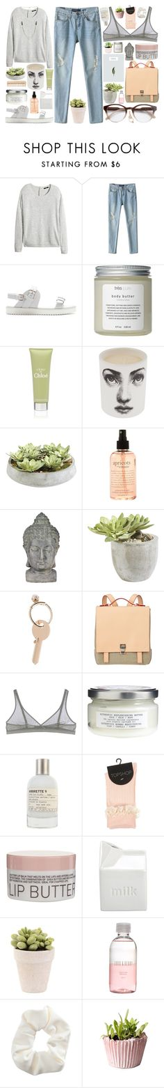 """Amaya"" by brenna-kaye ❤ liked on Polyvore featuring H&M, Chicnova Fashion, Zara, Très Pure, Chloé, Fornasetti, Ethan Allen, The Body Shop, philosophy and Universal Lighting and Decor"