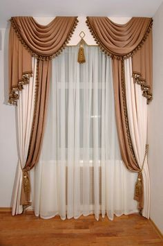 Cornice board, overlaid swabs, center tassel, two tone panels