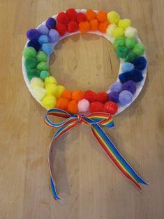 Rainbow Pom Pom Wreath — Blog: Art Activities & Fun Crafts Project Ideas for Kids — FamilyEducation.com