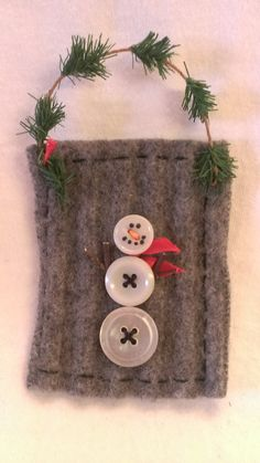Button Snowman Ornament on recycled felted wool (ribbed gray) by JunkWeLove on Etsy