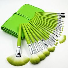 Party Queen 24 Pcs Pro Makeup Brushes Cosmetic Make up Kabuki Brush Set with Bag Green *** Details can be found by clicking on the image.