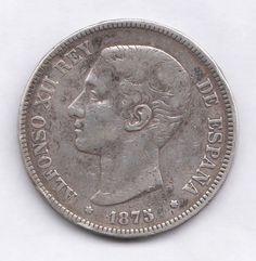 SPAIN  5 Pesetas 1875   VF   ALFONSO XII   DE  M    Silver coin
