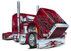 Mack Trucks, Peterbilt Trucks, Big Rig Trucks, Semi Trucks, Concept Motorcycles, Cars Coloring Pages, Truck Art, Gas Pumps, Car Drawings