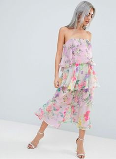 779716d25db ASOS DESIGN Petite Tiered Jumpsuit In Mixed Florals at asos.com