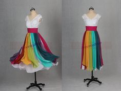 2015 tea length rainbow chiffon prom dress with v-neck,latest white lace bridesmaid dresses hot,cheap homecoming gowns for women. Praise Dance Wear, Worship Dance, Dance Outfits, Dance Dresses, Rainbow Wedding Dress, Lace Bridesmaid Dresses, Prom Dress, Dance Costumes, Dress Patterns