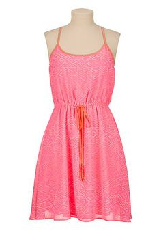 Neon trim Caged racerback tank dress (original price, $34) available at #Maurices