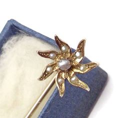Antique Victorian Stick Pin or Stickpin in 12kt Yellow Gold Lily With Prong Set Seed Pearls - In Original Box - c. 1910