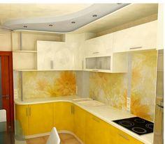 Кухня желтая фотопринт фартук цветы интерьер дизайн