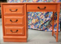 This is the shade I want from my Barcelona Orange.  DM   [Annie Sloan Barcelona Chalk Paint The Orange Crush Desk Makeover]