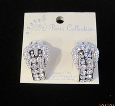 Cowgirl bling buckle rhinestone earrings  Ebay Seller Soloedition