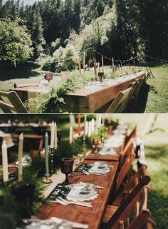 spring time forest wedding table settings